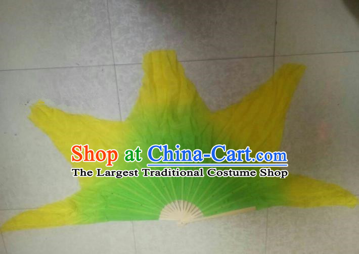 Traditional Chinese Crafts Folding Fan China Folk Dance Fans Green Silk Fans