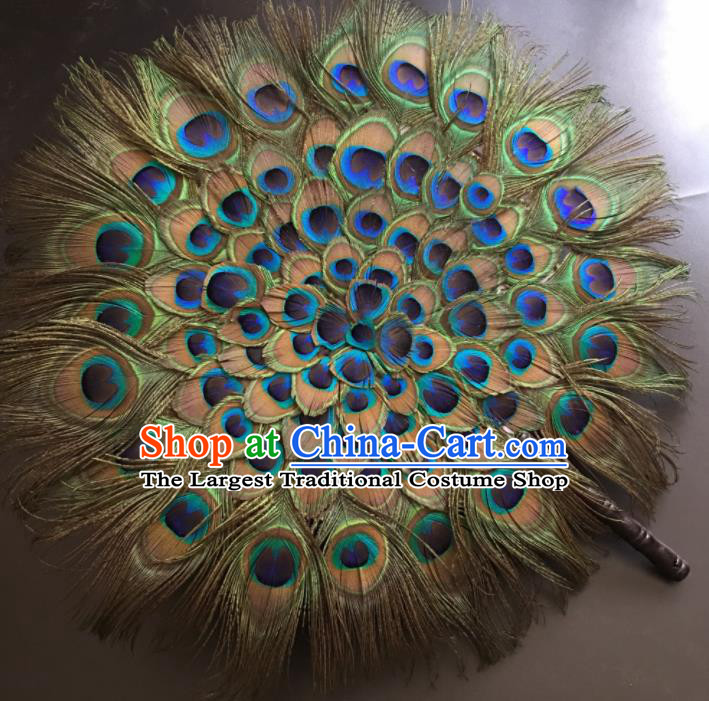 Traditional Chinese Crafts Peacock Feather Palace Fan China Folk Dance Round Fans