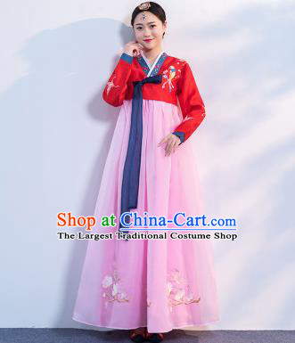 Top Grade Korean Traditional Costumes Asian Korean Hanbok Bride Red Blouse and Pink Skirt for Women