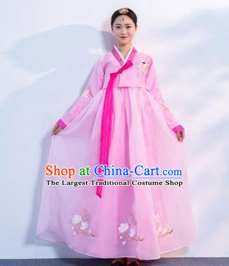 Top Grade Korean Traditional Costumes Asian Korean Hanbok Bride Pink Blouse and Skirt for Women