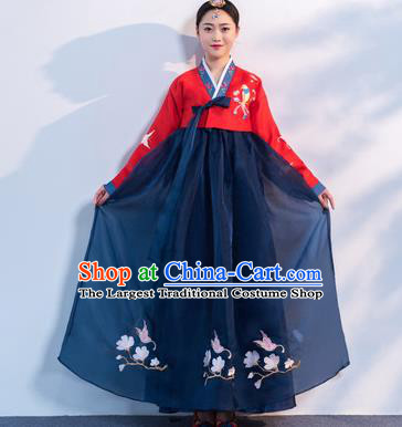 Top Grade Korean Traditional Costumes Asian Korean Hanbok Bride Red Blouse and Navy Skirt for Women