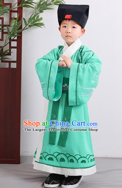 Chinese Han Dynasty Scholar Costume Ancient Green Hanfu Robe for Kids