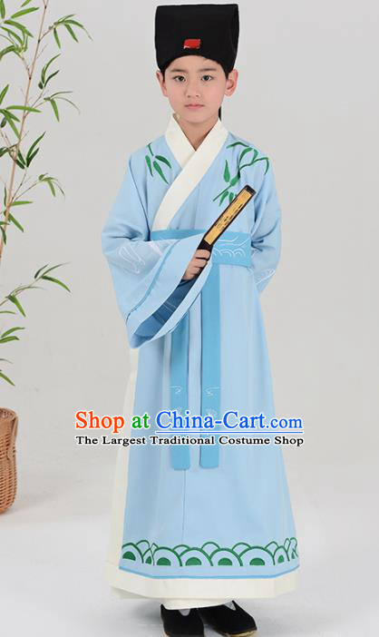 Chinese Han Dynasty Scholar Costume Ancient Blue Hanfu Robe for Kids