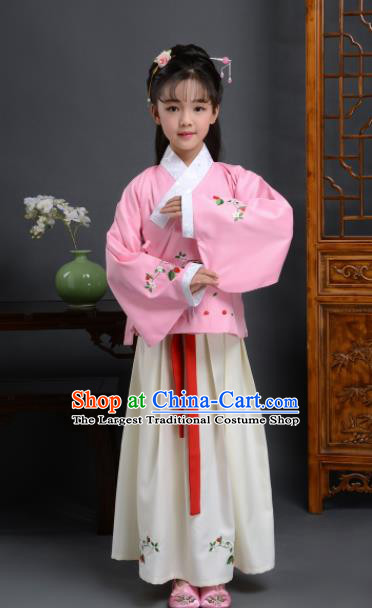 Chinese Ming Dynasty Nobility Lady Costume Ancient Peri Hanfu Dress for Kids