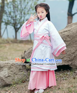Chinese Han Dynasty Nobility Lady Costume Ancient White Hanfu Dress for Kids