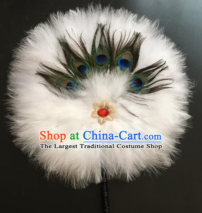 Traditional Chinese Crafts White Feather Palace Fan China Round Dance Feather Fans