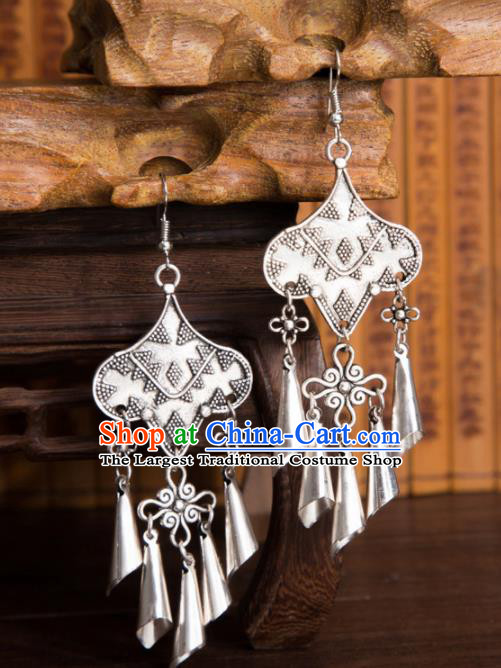 Chinese Traditional Jewelry Accessories Miao Minority Bells Tassel Earrings for Women
