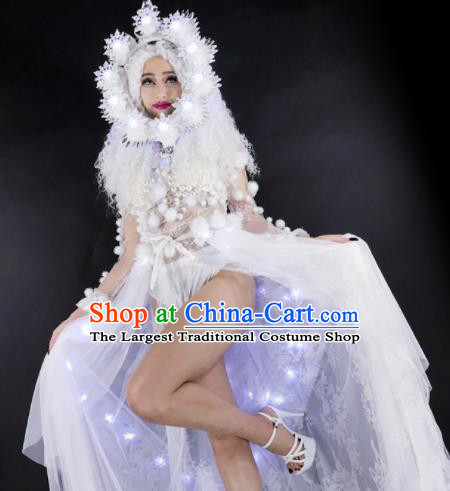 Professional Stage Performance Costume Halloween Cosplay Snow Fairy Clothing and Headwear for Women