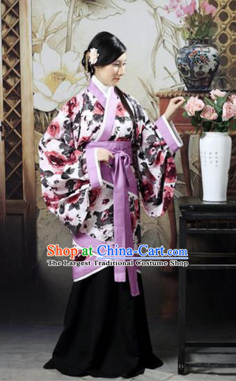 Chinese Traditional Han Dynasty Imperial Consort Printing Peony Hanfu Dress Ancient Maidenform Costumes for Women