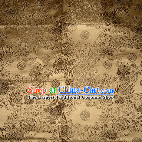 Chinese Traditional Bronze Silk Fabric Tang Suit Brocade Cheongsam Flowers Pattern Cloth Material Drapery