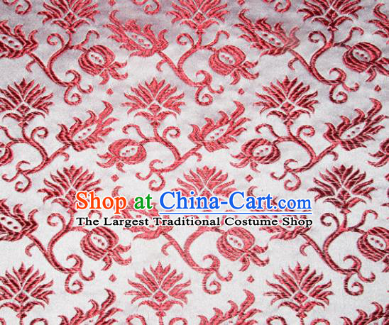 Chinese Traditional Silk Fabric Tang Suit Brocade Cheongsam Red Pattern Cloth Material Drapery