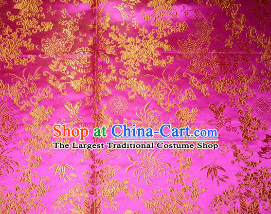 Chrysanthemum Pattern Chinese Traditional Rosy Silk Fabric Tang Suit Brocade Cloth Cheongsam Material Drapery