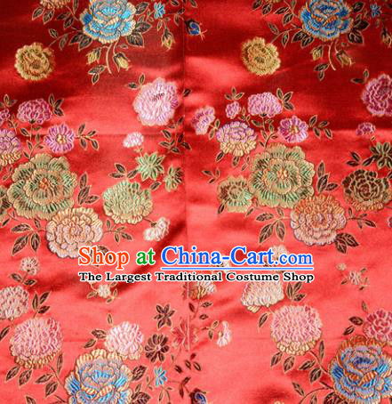 Chinese Traditional Silk Fabric Tang Suit Red Brocade Cheongsam Classical Peony Pattern Cloth Material Drapery