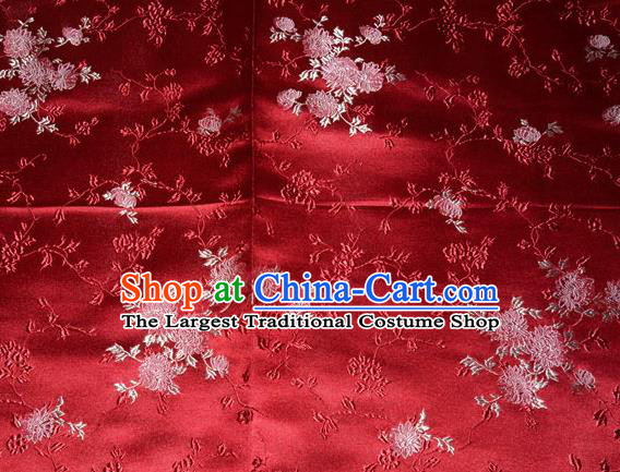 Classical Chrysanthemum Pattern Chinese Traditional Red Silk Fabric Tang Suit Brocade Cloth Cheongsam Material Drapery