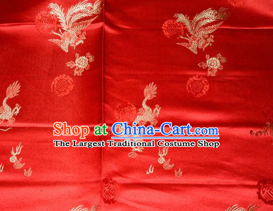 Wedding Classical Dragons Phoenix Pattern Chinese Traditional Red Silk Fabric Tang Suit Brocade Cloth Cheongsam Material Drapery