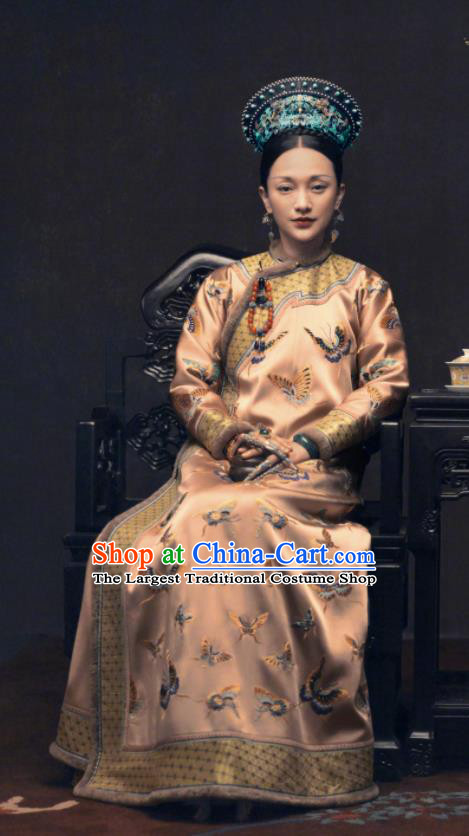 Ancient Ruyi Royal Love in the Palace Chinese Qing Dynasty Manchu Empress Embroidered Costumes and Headpiece Complete Set