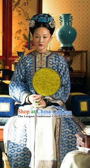 Ruyi Royal Love in the Palace Ancient Chinese Qing Dynasty Imperial Consort Embroidered Costumes and Headpiece Complete Set