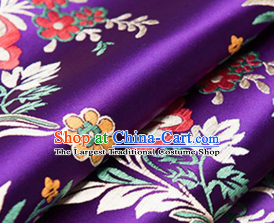 Chinese Traditional Fabric Purple Silk Fabric Begonia Pattern Tang Suit Brocade Cloth Cheongsam Material Drapery