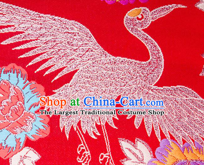 Chinese Traditional Silk Fabric Tang Suit Crane Pattern Red Brocade Cloth Cheongsam Material Drapery