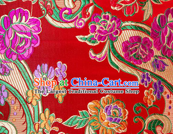 Chinese Traditional Red Silk Fabric Tang Suit Classical Flowers Pattern Brocade Cloth Cheongsam Material Drapery