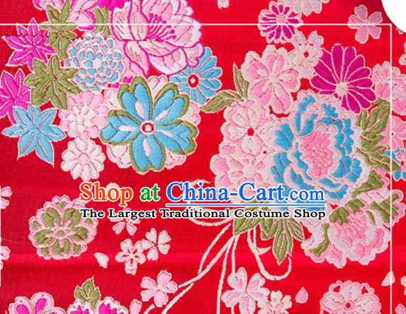 Chinese Traditional Brocade Fabric Tang Suit Red Silk Cloth Cheongsam Material Drapery
