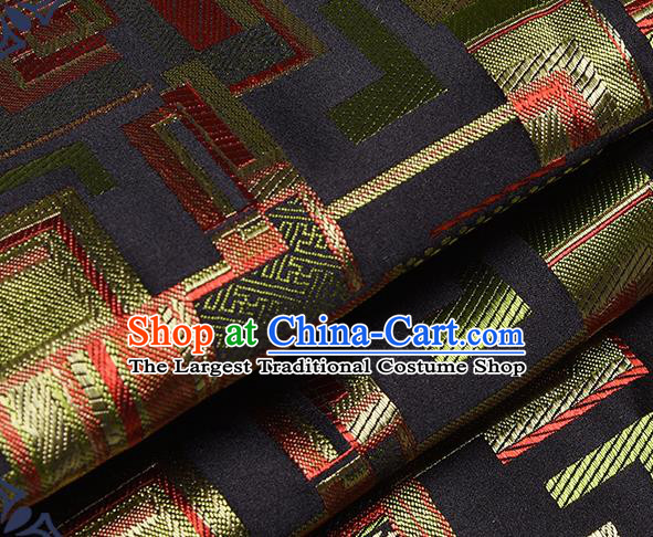 Chinese Traditional Tang Suit Nanjing Brocade Black Fabric Silk Cloth Cheongsam Material Drapery