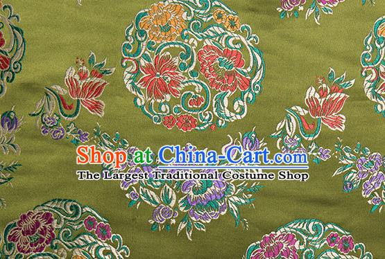 Chinese Traditional Palace Pattern Tang Suit Brocade Green Fabric Silk Cloth Cheongsam Material Drapery
