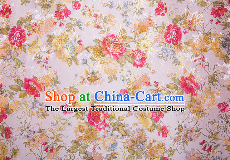 Chinese Traditional Peony Pattern Tang Suit White Brocade Fabric Silk Cloth Cheongsam Material Drapery