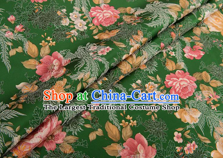 Chinese Traditional Peony Flowers Pattern Tang Suit Green Brocade Fabric Silk Cloth Cheongsam Material Drapery