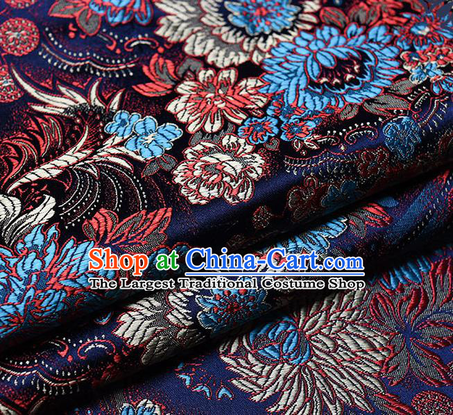 Chinese Traditional Tang Suit Navy Brocade Fabric Peony Pattern Silk Cloth Cheongsam Material Drapery