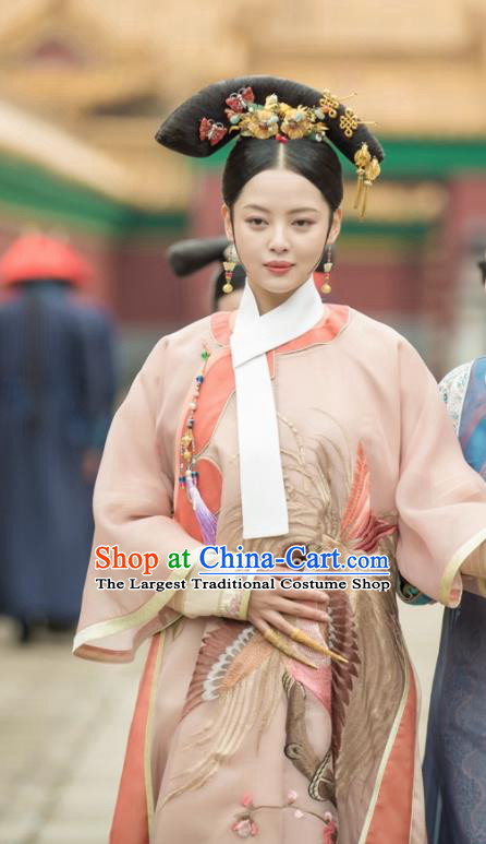 Chinese Ancient Ruyi Royal Love in the Palace Qing Dynasty Imperial Consort Costumes and Headpiece for Women
