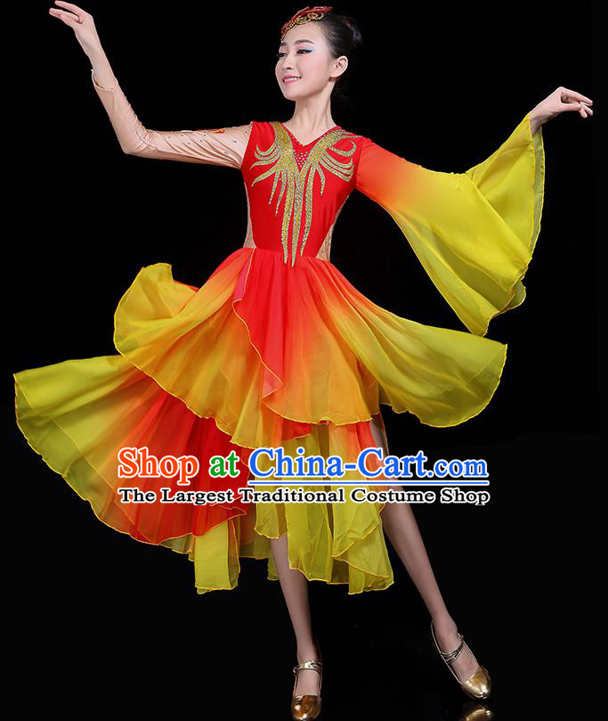 Traditional Fan Dance Classical Dance Red Dress Chinese Folk Dance Umbrella Dance Costume for Women
