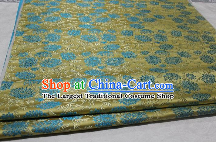 Chinese Traditional Cloth Cheongsam Yellow Brocade Fabric Tang Suit Silk Material Drapery
