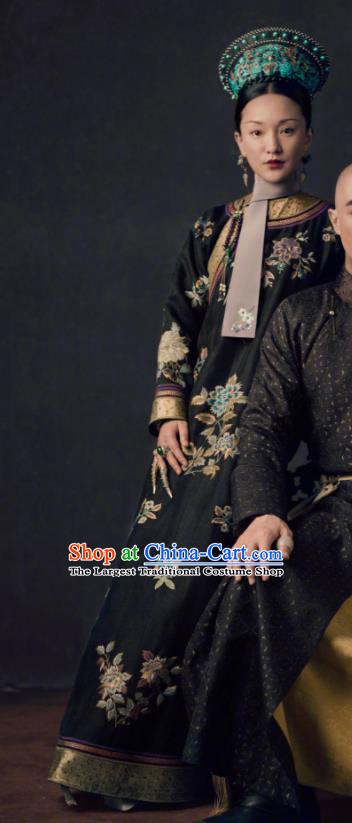 Ancient Chinese Qing Dynasty Queen Ruyi Royal Love in the Palace Embroidered Costumes and Headpiece Complete Set
