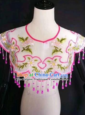 Chinese Traditional Beijing Opera Diva Accessories Peking Opera Costume Embroidered Rosy Cloud Tippet for Adults