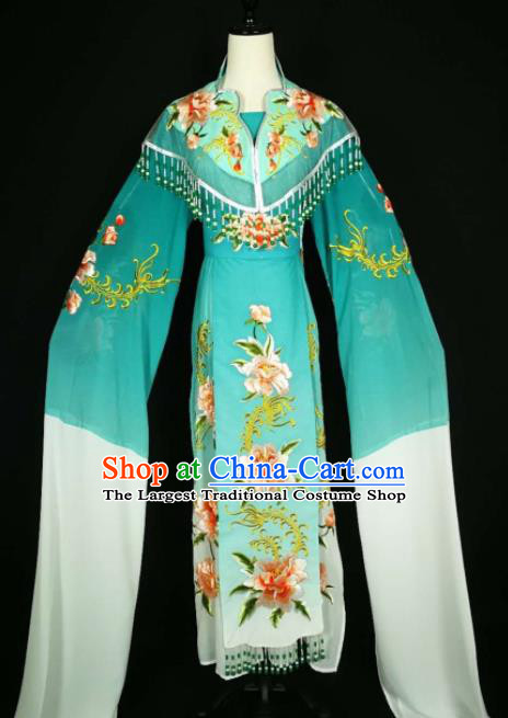 Chinese Traditional Beijing Opera Diva Peacock Green Dress Peking Opera Princess Costume for Adults