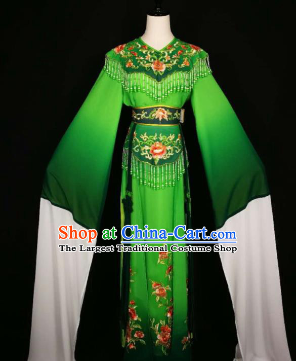 Chinese Traditional Beijing Opera Diva Embroidered Peony Green Dress Peking Opera Princess Costume for Adults