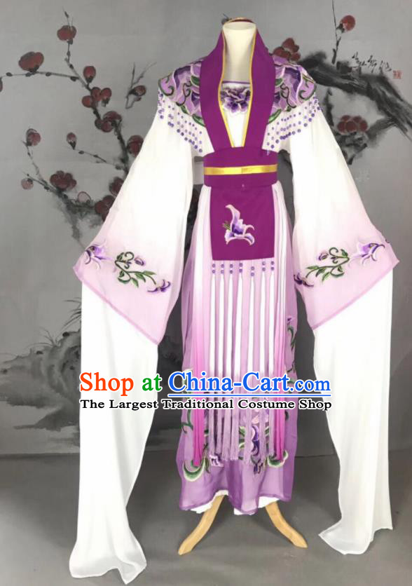 Chinese Traditional Beijing Opera Princess Purple Hanfu Dress Peking Opera Diva Water Sleeve Costume for Adults
