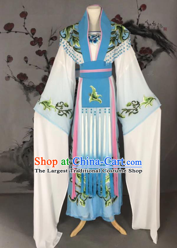 Chinese Traditional Beijing Opera Princess Blue Hanfu Dress Peking Opera Diva Water Sleeve Costume for Adults