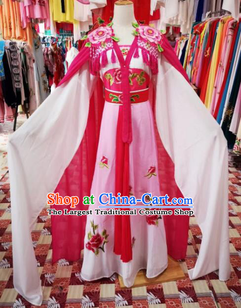 Chinese Traditional Beijing Opera Princess Rosy Hanfu Dress Peking Opera Diva Costume for Adults