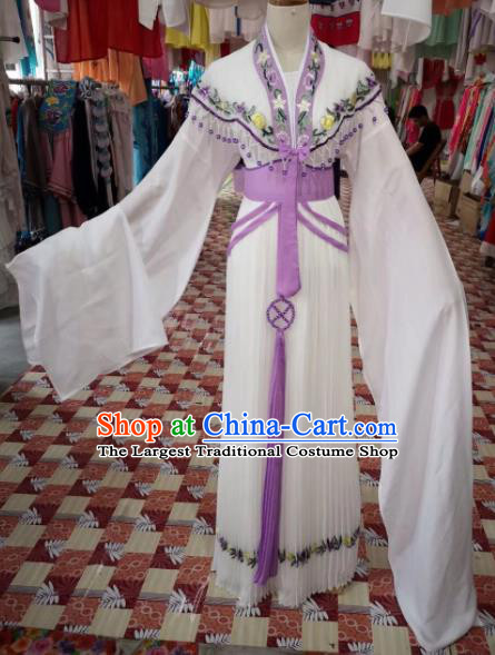Chinese Traditional Beijing Opera Princess White Hanfu Dress Peking Opera Diva Costume for Adults