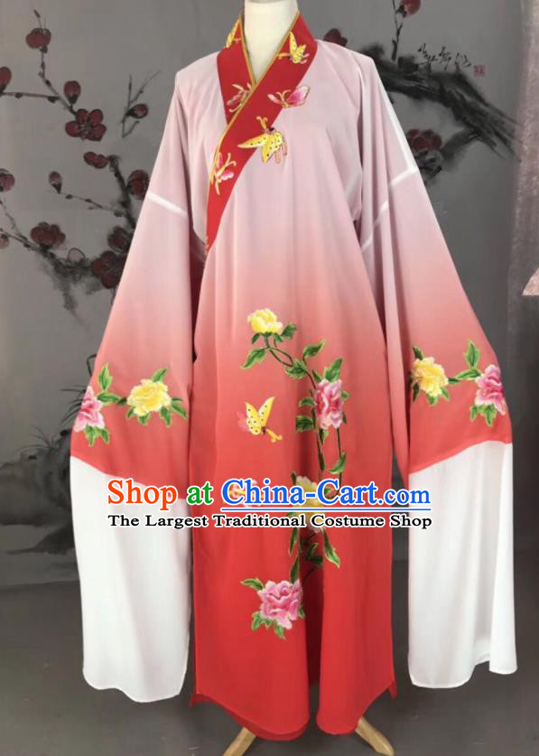 Chinese Traditional Beijing Opera Scholar Costume Peking Opera Niche Red Embroidered Robe for Adults