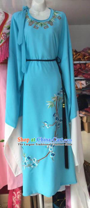 Chinese Traditional Beijing Opera Scholar Costume Peking Opera Niche Embroidered Blue Robe for Adults