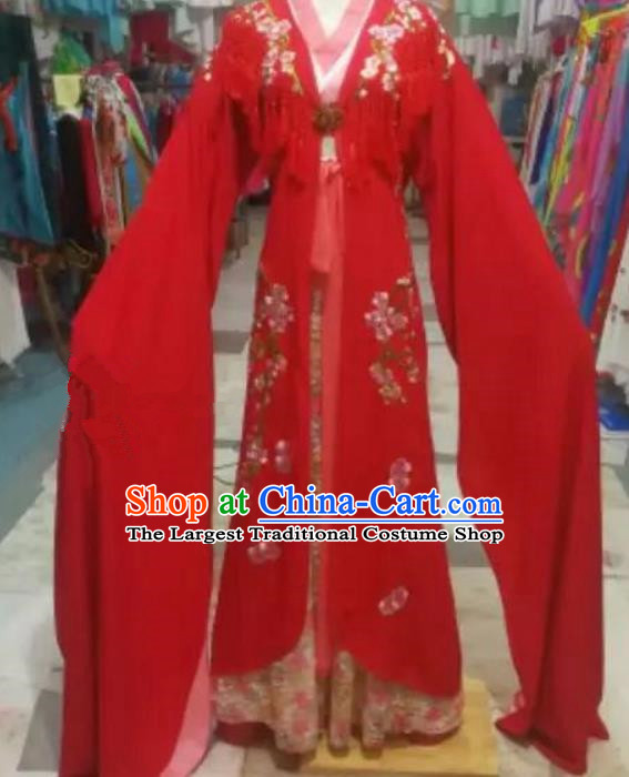 Chinese Traditional Beijing Opera Princess Water Sleeve Red Dress Peking Opera Actress Costume for Adults