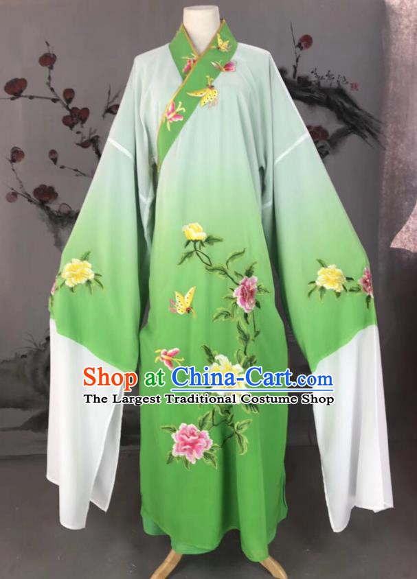 Chinese Traditional Beijing Opera Scholar Costume Peking Opera Niche Green Embroidered Robe for Adults