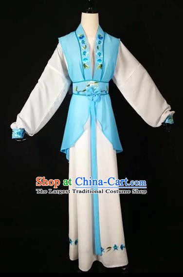Chinese Traditional Beijing Opera Young Lady Blue Dress Peking Opera Maidservants Costumes for Adults