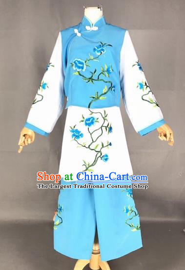 Chinese Traditional Beijing Opera Maidservants Embroidered Blue Clothing Peking Opera Diva Costumes for Adults
