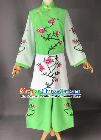 Chinese Traditional Beijing Opera Maidservants Embroidered Green Clothing Peking Opera Diva Costumes for Adults