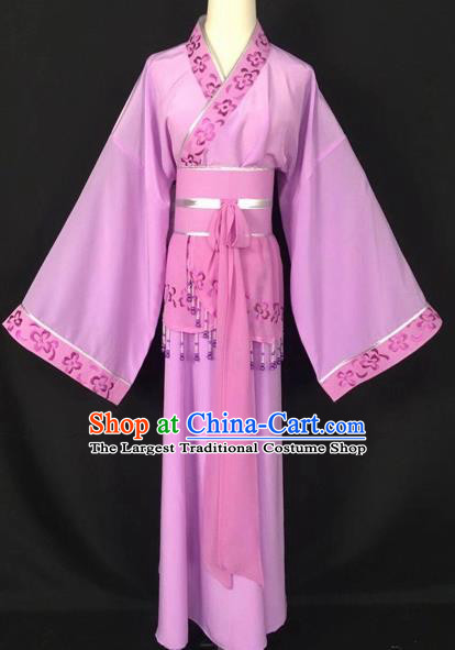 Chinese Traditional Beijing Opera Handmaiden Purple Hanfu Dress Peking Opera Diva Costumes for Adults