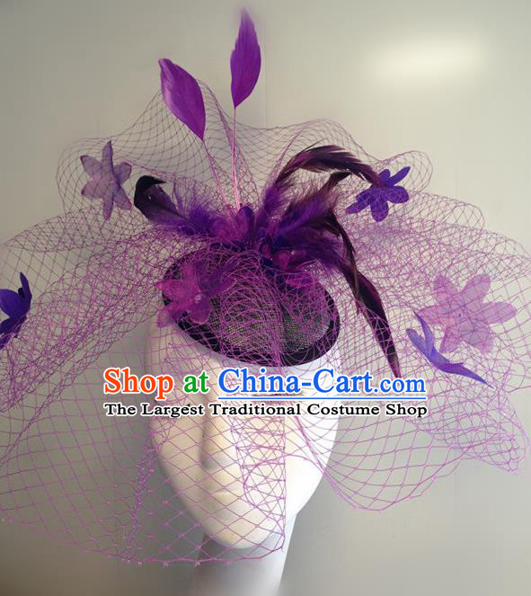 Top Halloween Catwalks Hair Accessories Stage Show Purple Feather Top Hat Headdress for Women